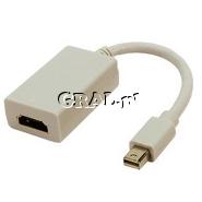 Przejsciówka/adapter Mini DisplayPort (meski) / HDMI (zenski) przedstawia grafika.