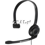 Słuchawka z mikrofonem Sennheiser PC 2 Chat (mono) przedstawia grafika.