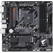 Gigabyte B450 AORUS M, AMD B450, HDMI, DVI, DDR4, SATA3, M2, RAID, GBLAN, MATX, AM4 przedstawia grafika.