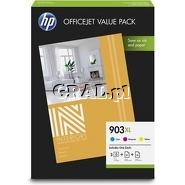 Wklad drukujacy HP no 903XL Value Pack CMY (żółty, czerwony, niebieski) przedstawia grafika.