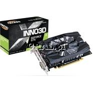 ˙Inno3D GeForce GTX1650 Compact V2, 4GB, DDR6, PCI-E, DP, HDMI, DVI przedstawia grafika.